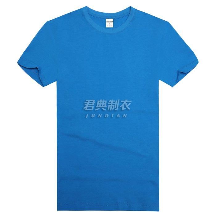 湖蓝色圆领T恤