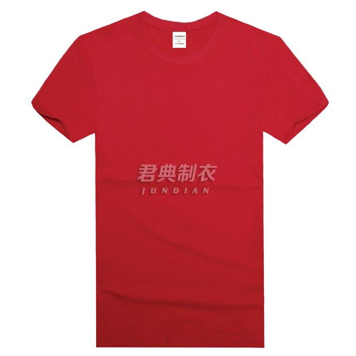 红色圆领T恤